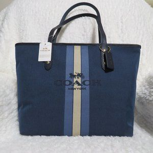 Coach Horse and Carriage Jacquard City Tote (Blue)